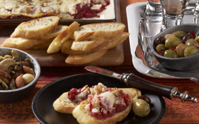 Beet & Blue Cheese Spread with Garlic Crostini