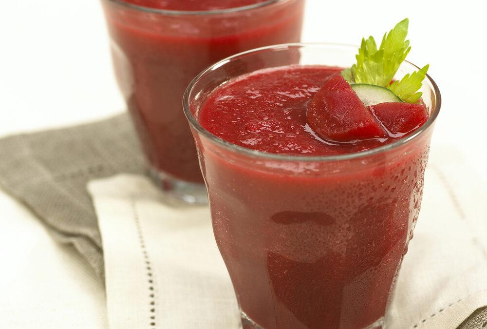 Beet Gazpacho in a Glass