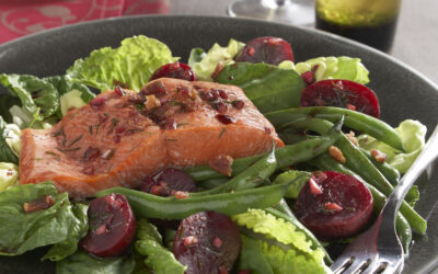 Salmon & Beet Salad with Pomegranate Dressing