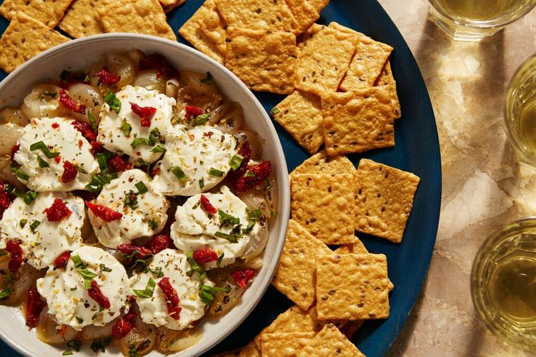 Baked Onion-Goat Cheese-Sun-Dried Tomato Dip