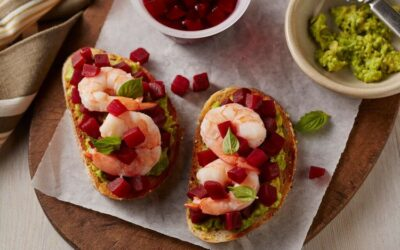 Beet, Shrimp & Avocado Tartine