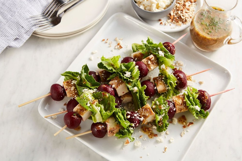 Ruby Beet Chicken Salad Skewers with Citrus-Stone Ground Mustard Vinaigrette