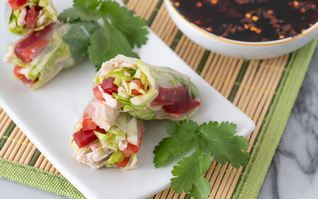 Beet Salad Spring Rolls with Spicy Orange Dipping Sauce