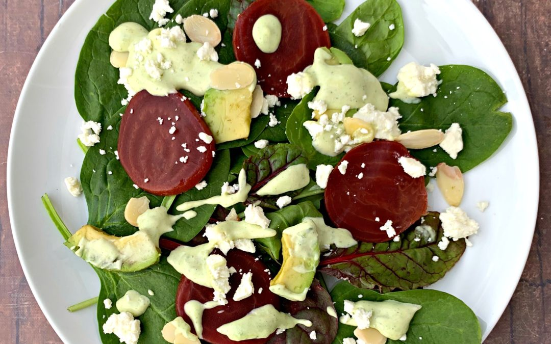 Green Goddess Salad with Sliced Beets