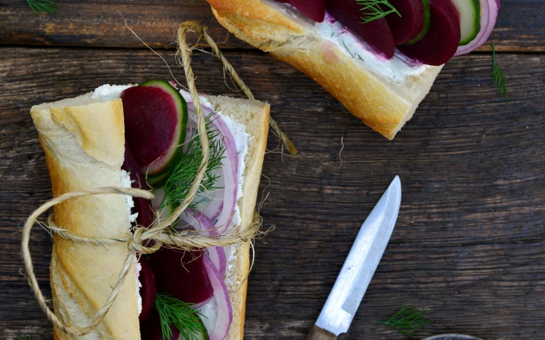 Baguette with Pickled Beets and Whipped Dill Goat Cheese